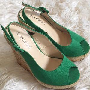 Green platform wedges sandals - shoedazzle